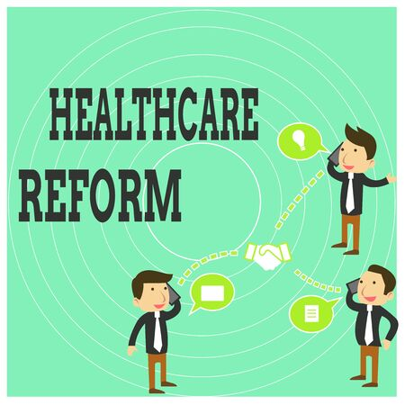 Conceptual hand writing showing Healthcare Reform. Concept meaning Innovation and Improvement in the quality of care program Businessmen Coworker Conference Call Discussion Mobile Phone Banco de Imagens