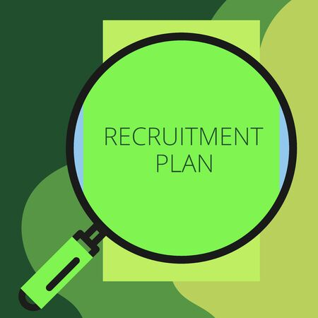 Writing note showing Recruitment Plan. Business concept for saving money in order to use it when you quit working Round magnifying glass with iron handle frame to look bigger Imagens