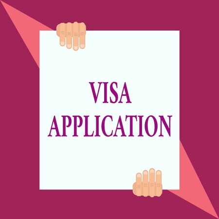 Conceptual hand writing showing Visa Application. Concept meaning Form to ask permission travel or live in another country Two hands hold one big white paper placed on top and bottom