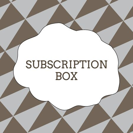 Writing note showing Subscription Box. Business concept for button if you clicked on will get news or videos about site Seamless Isosceles Triangles Diagonally Gray and Brown Alternate Color Reklamní fotografie