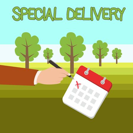 Word writing text Special Delivery. Business photo showcasing getting products or service directly to your home any place Male Hand Formal Suit Crosses Off One Day Calendar Red Ink Ballpoint Pen Reklamní fotografie
