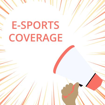 Word writing text E Sports Coverage. Business photo showcasing Reporting live on latest sports competition Broadcasting Hand Holding Loudhailer Empty Round Speech Text Balloon Announcement New Stock Photo