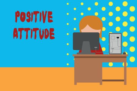 Conceptual hand writing showing Positive Attitude. Concept meaning Being optimistic in Life Looking for good things Young female working in office computer office monitor photo