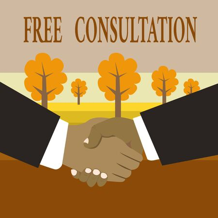 Writing note showing Free Consultation. Business concept for Giving medical and legal discussions without pay Hand Shake Multiracial Male Business Partners Formal Suits