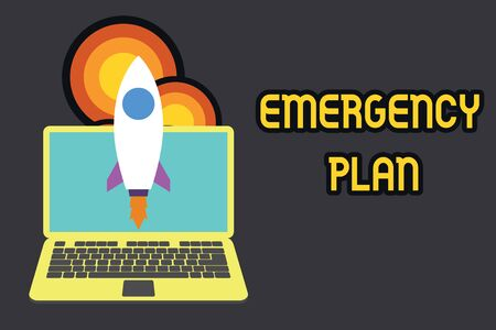 Text sign showing Emergency Plan. Business photo text Procedures for response to major emergencies Be prepared Launching rocket up laptop . Startup project. Developing goal objectives 스톡 콘텐츠 - 124992150