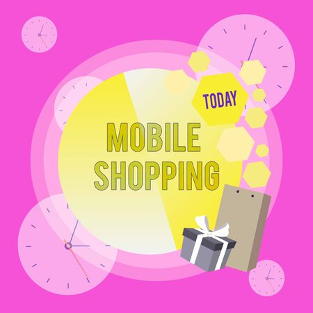 Conceptual hand writing showing Mobile Shopping. Concept meaning Buying and selling of goods and services through mobile Greeting Card Poster Gift Package Box Decorated by Bowknot