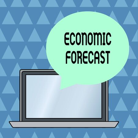 Text sign showing Economic Forecast. Business photo showcasing Process of making predictions about the economy condition Round Shape Empty Speech Bubble Floating Over Open Laptop Colored Backdrop Banco de Imagens