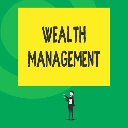Word writing text Wealth Management. Business photo showcasing Sustain and grow long term prosperity Financial care Isolated view young man standing pointing upwards two hands big rectangle