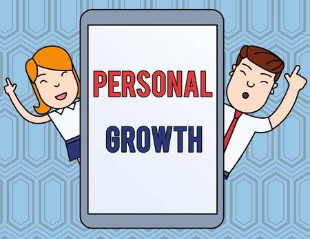 Text sign showing Personal Growth. Business photo text improve develop your skills qualities Learn new materials Male and Female Index Fingers Up Touch Screen Tablet Smartphone Device