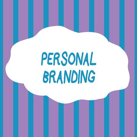 Text sign showing Personal Branding. Business photo showcasing Practice of People Marketing themselves Image as Brands Seamless Vertical Stripes Pattern in Blue and Violet Alternate Color Strip