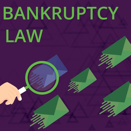 Text sign showing Bankruptcy Law. Business photo showcasing Designed to help creditor in getting the asset of the debtor Magnifying Glass on One Different Color Envelope and others has Same Shade