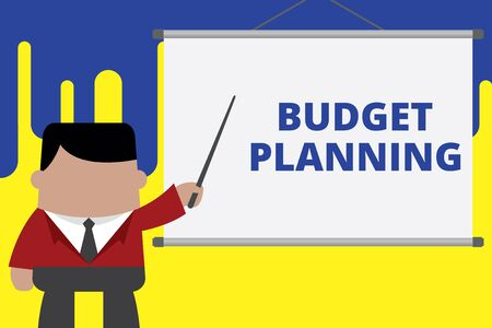 Handwriting text writing Budget Planning. Conceptual photo The written description about current and future expenses Businessman standing in front projector screen pointing project idea