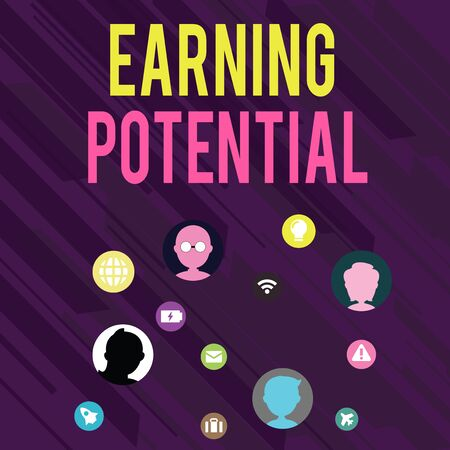 Conceptual hand writing showing Earning Potential. Concept meaning Top salary for a particular field or professional job Networking Technical Icons Chat Heads on Screen for Link Up Reklamní fotografie