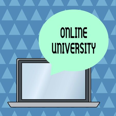 Text sign showing Online University. Business photo showcasing Distance Learning Courses are taken over the internet Round Shape Empty Speech Bubble Floating Over Open Laptop Colored Backdrop Banco de Imagens