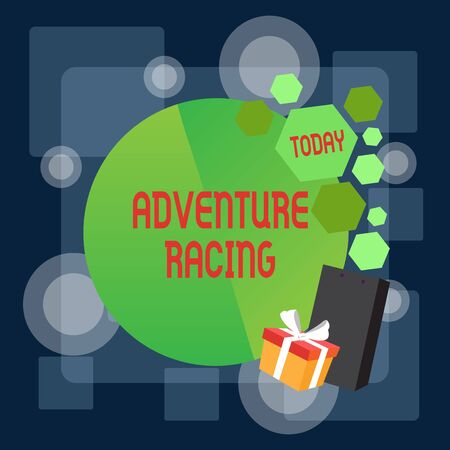Writing note showing Adventure Racing. Business concept for disciplinary sport involving navigation over unknown course Greeting Card Poster Gift Package Presentation Box Decorated by Bowknot Stock Photo
