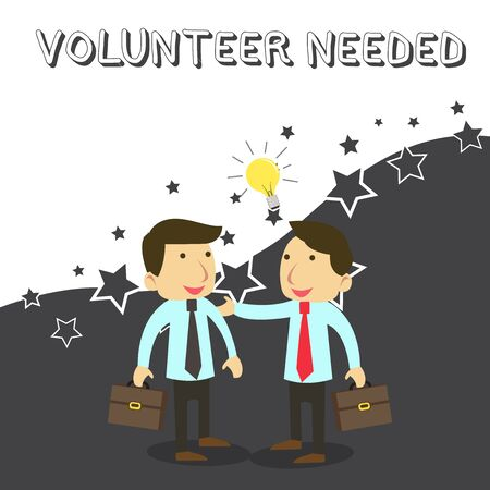 Word writing text Volunteer Needed. Business photo showcasing Looking for helper to do task without pay or compensation Two White Businessmen Colleagues with Brief Cases Sharing Idea Solution