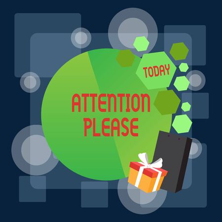Writing note showing Attention Please. Business concept for Asking showing to focus their mental powers on you Greeting Card Poster Gift Package Presentation Box Decorated by Bowknot