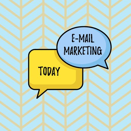 Writing note showing E Mail Marketing. Business concept for Ecommerce Advertising Online sales Newsletters Promotion Pair of Overlapping Blank Speech Bubbles of Oval and Rectangular Shape