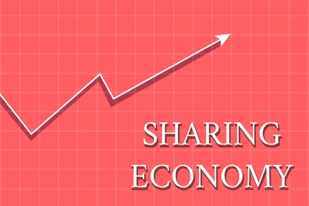 Conceptual hand writing showing Sharing Economy. Concept meaning economic model based on providing access to goods Crook White Progress Arrow with Shadow Quadrille Background Imagens