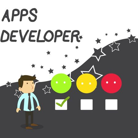 Text sign showing Apps Developer. Business photo text Graphic artist Software Programmer and Analyst Experts White Male Questionnaire Survey Choice Checklist Satisfaction Green Tick Reklamní fotografie - 124993424