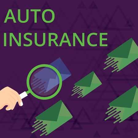 Text sign showing Auto Insurance. Business photo showcasing Protection against financial loss in case of accident Magnifying Glass on One Different Color Envelope and others has Same Shade Banco de Imagens - 124993426