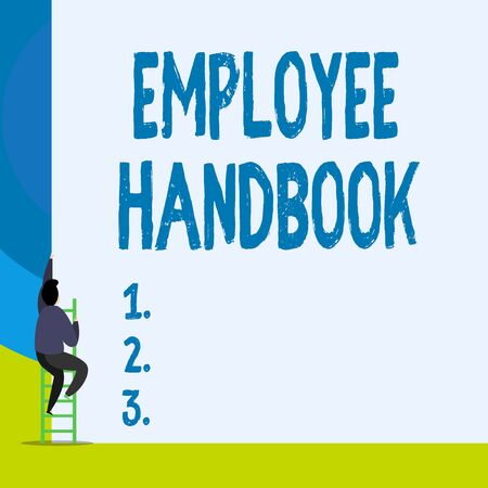 Word writing text Employee Handbook. Business photo showcasing Document that contains an operating procedures of company Back view young man climbing up staircase ladder lying big blank rectangle