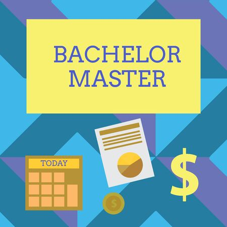 Text sign showing Bachelor Master. Business photo showcasing An advanced degree completed after bachelor s is degree Computing Dollar Investment in Gold and Presenting Data thru Pie Chart Graph