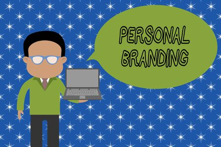 Text sign showing Personal Branding. Business photo showcasing Practice of People Marketing themselves Image as Brands Standing man in suit wearing eyeglasses holding open laptop photo Art Zdjęcie Seryjne