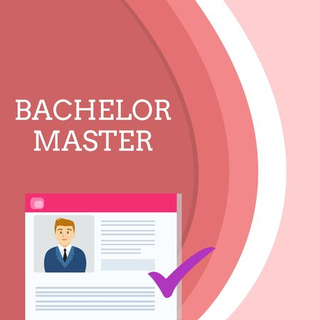 Handwriting text writing Bachelor Master. Conceptual photo An advanced degree completed after bachelor s is degree Curriculum Vitae Resume of Young Male Candidate Marked by Colored Checkmark Banco de Imagens