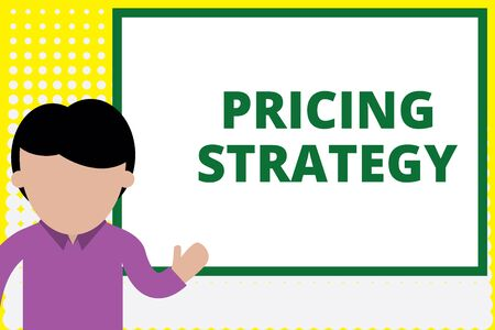 Text sign showing Pricing Strategy. Business photo text set maximize profitability for unit sold or market overall Young man standing in front whiteboard pointing to project. photo Art