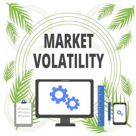 Handwriting text writing Market Volatility. Conceptual photo Underlying securities prices fluctuates Stability status Business Concept PC Monitor Mobile Device Clipboard Ruler Ballpoint Pen Reklamní fotografie - 124997366