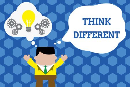 Text sign showing Think Different. Business photo showcasing be unique with your thoughts or attitude Wind of change Standing man suit hands up imaginary bubble light bulb gears working together