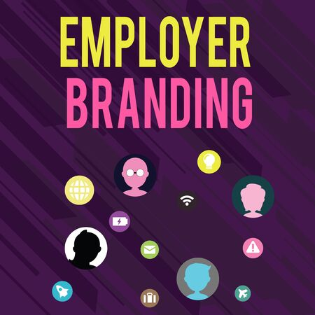 Conceptual hand writing showing Employer Branding. Concept meaning Process of promoting a company Building Reputation Networking Technical Icons Chat Heads on Screen for Link Up