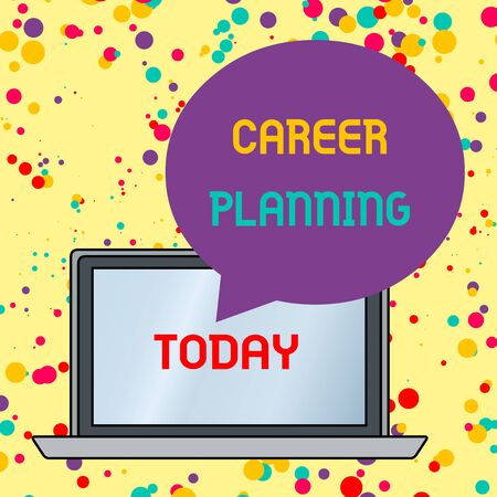 Text sign showing Career Planning. Business photo text Strategically plan your career goals and work success Round Shape Empty Speech Bubble Floating Over Open Laptop Colored Backdrop