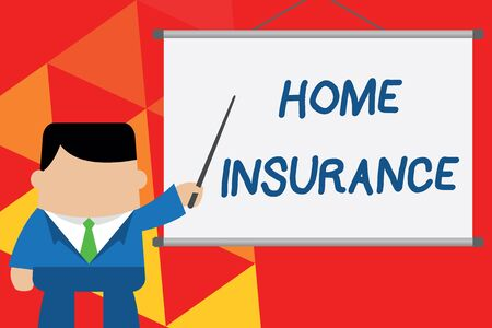 Conceptual hand writing showing Home Insurance. Concept meaning Covers looses and damages and on accidents in the house Businessman standing in front projector pointing project idea