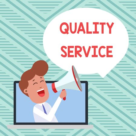 Conceptual hand writing showing Quality Service. Concept meaning how well delivered service conforms to clientexpectations Man Speaking Through Laptop into Loudhailer Bubble Announce 版權商用圖片