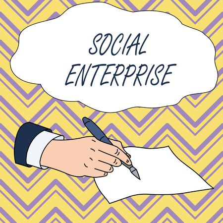 Conceptual hand writing showing Social Enterprise. Concept meaning Business that makes money in a socially responsible way Male Hand Formal Suit Holding Ballpoint Pen Piece of Paper Writing