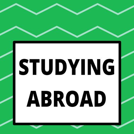 Writing note showing Studying Abroad. Business concept for learn outside of home in foreign country Travelling Big square background inside one thick bold black outline frame