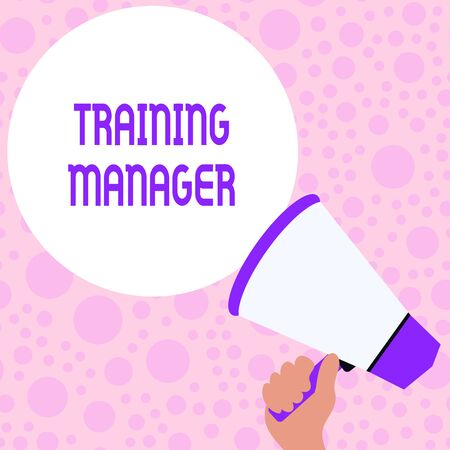 Writing note showing Training Manager. Business concept for giving needed skills for high positions improvement Hand Holding Loudhailer Speech Text Balloon Announcement New Stock Photo