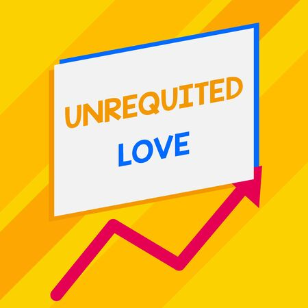 Conceptual hand writing showing Unrequited Love. Concept meaning not openly reciprocated or understood as such by beloved Blank rectangle above another zigzag upwards increasing sale Banco de Imagens