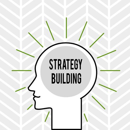 Handwriting text writing Strategy Building. Conceptual photo Leveraging Buying and acquiring others platforms Outline Silhouette Human Head Surrounded by Light Rays Blank Text Space 写真素材 - 124997474