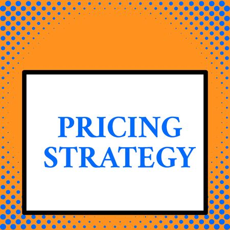 Writing note showing Pricing Strategy. Business concept for set maximize profitability for unit sold or market overall Front close up view big blank rectangle abstract geometrical background