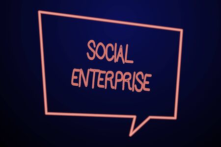Word writing text Social Enterprise. Business photo showcasing Business that makes money in a socially responsible way Empty Quadrangular Neon Copy Space Speech Bubble with Tail Pointing Down Stock Photo