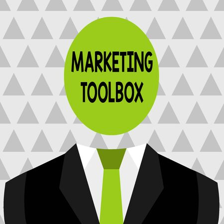 Text sign showing Marketing Toolbox. Business photo showcasing Means in promoting a product or services Automation Symbolic Drawing Emblematic Figure of Man Formal Suit Oval Faceless Head