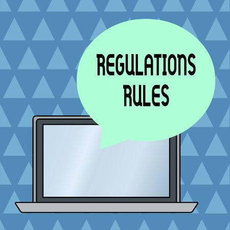 Text sign showing Regulations Rules. Business photo showcasing Standard Statement Procedure govern to control a conduct Round Shape Empty Speech Bubble Floating Over Open Laptop Colored Backdrop