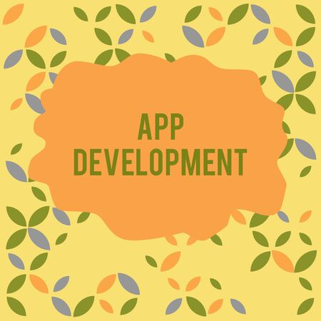 Conceptual hand writing showing App Development. Concept meaning Development services for awesome mobile and web experiences Seamless Summer Autumn Leaf Texture Multicolored Pattern Stock Photo