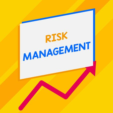 Conceptual hand writing showing Risk Management. Concept meaning evaluation of financial hazards or problems with procedures Blank rectangle above another zigzag upwards increasing sale 스톡 콘텐츠 - 124997680