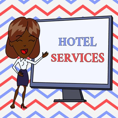 Conceptual hand writing showing Hotel Services. Concept meaning Facilities Amenities of an accommodation and lodging house White Female in Standing Pointing Whiteboard Presentation