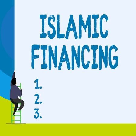 Word writing text Islamic Financing. Business photo showcasing Banking activity and investment that complies with sharia Back view young man climbing up staircase ladder lying big blank rectangle Stock Photo