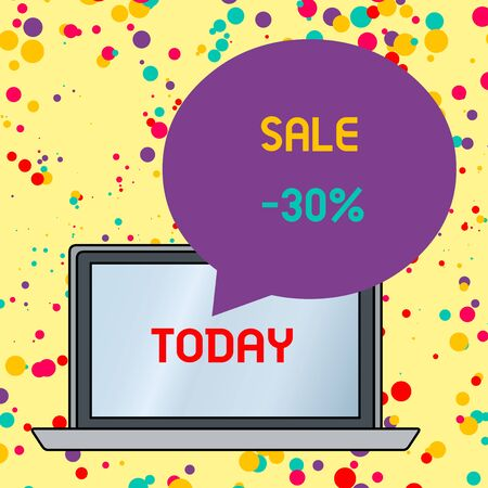 Text sign showing Sale 30 Percent. Business photo text A promo price of an item at 30 percent markdown Round Shape Empty Speech Bubble Floating Over Open Laptop Colored Backdrop Stok Fotoğraf